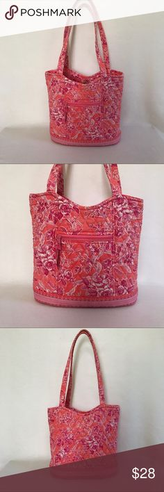 """Vera Bradley • """"Hope Toile"""" Patterned Shoulder Bag Excellent used condition. Hope toile patterned bag in peach and pink. 1 exterior zip pocket. Snap closure. Interior has 3 pockets (1 zips). Strap drop is approximately 12"""". Vera Bradley Bags Shoulder Bags"""
