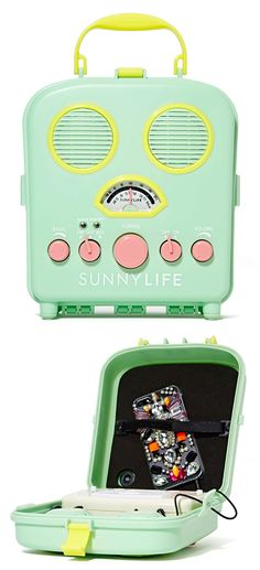 Sunny Life Beach Sounds Portable Speaker compatible with iPod, iPhone and most MP3 players. Sand and water resistant. Perfect for summer! #product_design