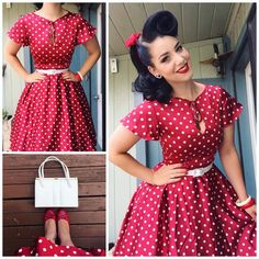 """""""This mornings sunshine was brrriighhht! OOTD Dress- Vintage from Belt- Kmart Shoes - Bangles- Vintage / 50s Dresses, Unique Dresses, Cute Dresses, Vintage Dresses, Vintage Outfits, Rockabilly Fashion, 1950s Fashion, Vintage Fashion, 50s Outfits"""