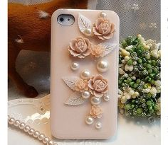 Vintage 3D Pink Rose Flower and Leaves Women's Pearl by EverMagic, $21.99