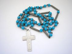 Glass and metal classic necklace with cross by badgestuff on Etsy, $4.00