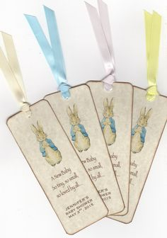 Peter Rabbit Bookmark / Personalized Baby Shower Bookmark Favor / Beatrix Potter Bookmark Boy Girl Favor / Vintage Style - Set Of 10