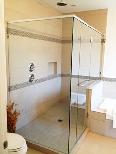 Large Shower With Glass Door