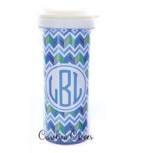 Blue Chevron Hot Beverage Travel Mug.