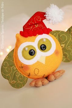 Felt owls- sub Santa hat with top hat ❤ Owl Crafts, Christmas Crafts, Christmas Ornaments, Owl Ornament, Felt Ornaments, Felt Owls, Christmas Owls, Felt Decorations, Cute Owl