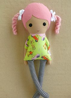 Fabric Doll Rag Doll Pink Haired Girl with Braids by rovingovine