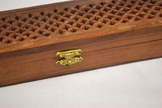 Vintage Wooden Incense Case Holder - Large Perforated Top Beautiful Grain