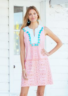 This shift dress will be your new beach wearing fave, with aqua tassel accents and a flattering sleeveless design. Made with our luxurious lightweight swim fabric that easily takes you from sand to sidewalk, complete with UV protection. Upf Clothing, Sun Protective Clothing, Beachwear, Swimwear, Turks And Caicos, Sleeveless Tunic, Beach Trip, Hand Stitching, Stitch Fix