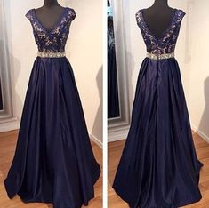 Free Shipping Deep V-neckline Navy Blue Prom Dress,V-back Graduation Dress,Lace Evening Dress,Navy Blue Taffeta Occasion Dress