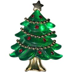 Anne Klein Molded Lucite Garland 3D Christmas Tree Pin ~ Book Piece from under-on-by-the-sea on Ruby Lane