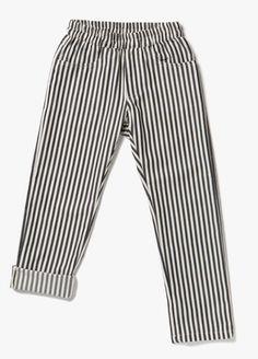 Elasticated waist trousers black stripes