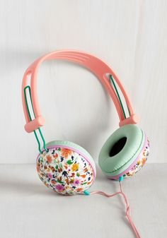 Swoons and Tunes Headphones in Leafy Wildflowers - Pink, Solid, Floral, Print, Pastel, Music, Good, Variation