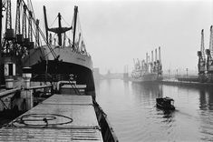 May 1967 - Ships unloading in the docks at Manchester seen through the mist