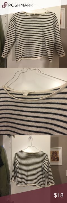 Cos wool blend breton top Wool cotton blend; warm and soft; short length; will look great on petite girl with high rise skinny jeans. 18.5 inch pit to pit; 16 inch length.  Loose fit. cos Tops Crop Tops