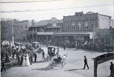 Wagga Wagga in the Riverina region of New South Wales outside the courthouse at the corner of Fitzmaurice and Sturt Sts. Circa early 1900s.
