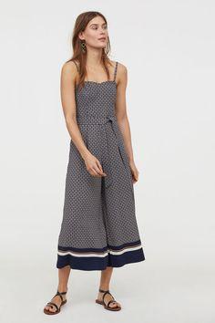 3/4-length jumpsuit - Dark blue/Patterned - Ladies | H&M GB 1