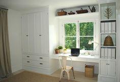 wardrobe around window with desk. add wardrobe to both sides.