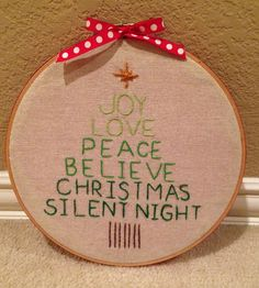 Christmas Tree Embroidery Hoop Art