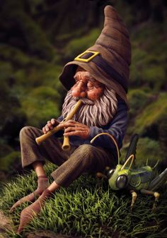 Gnome With Grasshopper by Christopher Elves Faeries Gnomes: with grasshopper. Woodland Creatures, Magical Creatures, Fantasy World, Fantasy Art, Trolls, Kobold, Elves And Fairies, Illustration, Gnome Garden