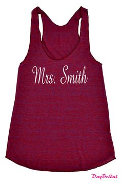 MRS Tank Top with PERSONALIZED Name bridesmaid shirt by DayBridal