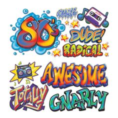 80s Graffiti Wall Decorations for a gnarly Eighties Flashback Party! Great for a photo booth.