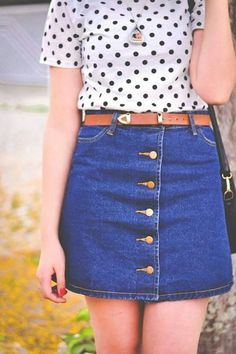 button down denim skirt and polka dot blouse -a classic and cute combo