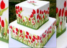 Beautiful Hand Painted Buttercream ! Video Tutorial by My Cake School. Online Cake Tutorials by MyCakeSchool.com!