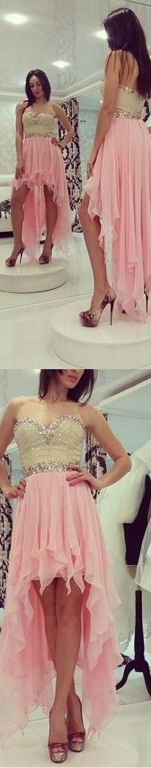 Long Prom Dresses, Cute A-Line Sweetheart Asymmetry High-Low Chiffon Pink Prom Dress With Beading