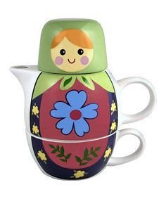 Look at this #zulilyfind! Green Nesting Doll Tea Set #zulilyfinds