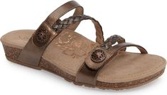 058c7bd920b7bd Aetrex Janey Braided Slide Sandal in Metallic