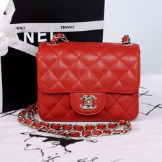 Chanel MINI CF Classic Flap Shoulder Bag A1115 Red Caviar Leather With Silver CC Chain/ATOHU