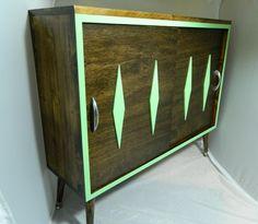 Art Deco Cabinet with Diamond Embellishment   Atomic - Retro - Deco