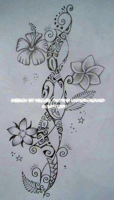 Polynesian hibiscus tattoo