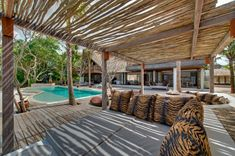 Pergola roof terrace covering cushions Tiger pattern