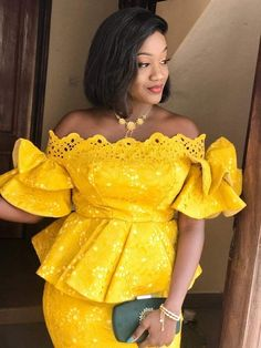 Short African Dresses, Latest African Fashion Dresses, African Print Fashion, Nigerian Lace Styles, African Attire, Patterned Dress, Yellow Outfits, African Prints, African Dress