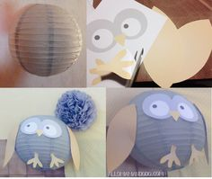 hibou boule chinoise diy                                                                                                                                                                                 Plus Animal Activities For Kids, Animal Crafts For Kids, Games For Kids, Diy Suspension, Preschool Crafts, Diy Crafts, Animal Print Outfits, Baby Birthday, Hobbies And Crafts