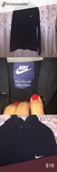 Black XL Nike Hoodie This black XL Nike hoodie is like new! It's been worn and washed once. There must have been something red in the pocket bc there is red all over the inside. I pictured this and have based the price on this. I tried to get it out with a lint roller and was semi successful so there's hope. For me it wouldn't impact the greatness of the hoodie, really just an FYI. Make me an offer I can't refuse :) Nike Tops Sweatshirts & Hoodies