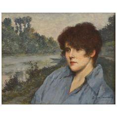 A portrait of Mme. Henriette Roger Jourdain, the wife of the painter, in a landscape. Date: 1890. By Roger Joseph Jourdain (1845-1918)