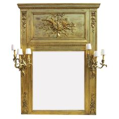French 19th-20th Century Louis XV Style Giltwood Carved Trumeau Mirror Frame 1