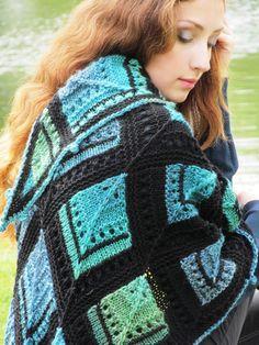 """Knit shawl """"Malachite Box"""" (knitted shawl, wool shawl, modular knitting, knit patchwork, stained-glass shawl, hand knit shawl)"""
