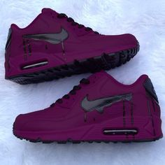 nick shoes nike New amp; Custom Purple And Black Drip Nike Air Max 90 Dream Shoes, Me Too Shoes, Souliers Nike, Sneakers Fashion, Shoes Sneakers, Sneakers Adidas, Shoes Heels, Jordans Sneakers, Designer Shoes