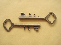 One Antiqued Bronze Large Vintage KEY78x28mm Charms by yooounique, $3.20