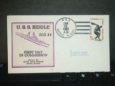 USS BIDDLE DLG-34 Naval Cover 1967 BECK #B694 COMMISSIONED Cachet