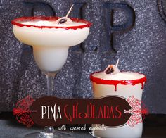 Several creative/yummy Halloween cocktail recipes including Pina Ghouladas, Candy Corn, Horny Devils, Bleeding Hearts and Black Widows. Fun!