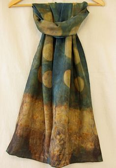 Image of Moon and Flowers sea green ecoprint silk scarf by Morgen Bardati