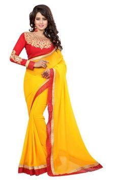 yellow embroidered faux georgette saree with blouse - FASHION - 1569405 Yellow Saree, Georgette Sarees, Designing Women, Party Wear, Two Piece Skirt Set, Sari, Indian, Celebrities, Blouse