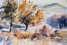 Johannes Baul, Aquarelle, Pastelle,: Herbst in den Bergen