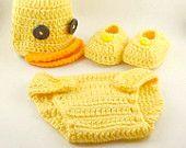 Crochet Baby Ducky Newborn Crochet Hat, Diaper Cover, and Bootie Set