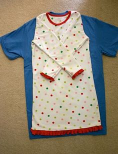 Little girl nightgowns from adult t-shirts.  I made one as my first ever sewing project and it was so simple and easy! My daughter loved it and I used a super-soft t-shirt, and luckily, it didn't get all bunchy on the side, even without a serger.