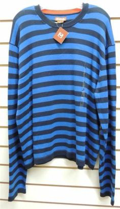 NEW Michael Kors Black Blue Striped Pull Over Sweater XL NWT